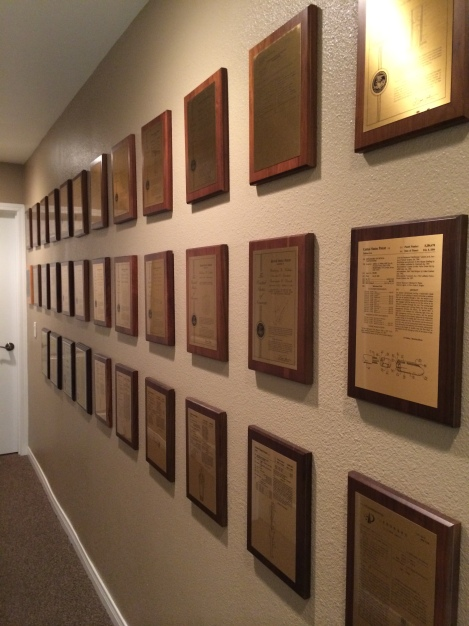 Patent plaques outside the facility's professional offices.