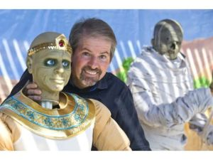Tony's Egypt themed Halloween event included a mummification station with animatronics, professional lighting, and coordinated music and sound effects.